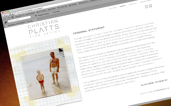 Christian Platts Website Personal St - Freelance Graphic designer Manchester