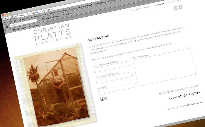 Christian Platts Website Contact - Freelance Graphic designer Manchester
